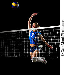 Woman volleyball player (with net and ball ver) - Young...