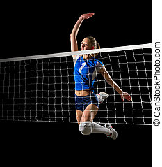 Woman volleyball player (with net ver) - Young woman...