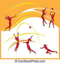 Vector illustration of woman volleyball silhouettes