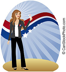 Woman Voter - Stylish woman holding her ballot and getting...