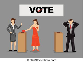 Woman Voter Voting for Woman Candidate Vector Illustration