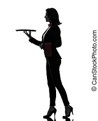 woman waiter butler holding empty tray silhouette