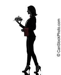 woman waiter butler serving dinner silhouette