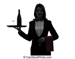 woman waiter butler serving red wine silhouette