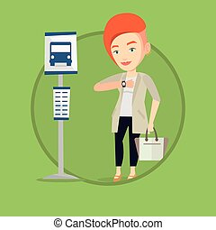 Woman waiting at the bus stop vector illustration. -...