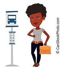Woman waiting at the bus stop vector illustration.