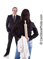 woman waiting for her husband, with the rolling pin and a white shirt with lipstick mark hidden behind his back