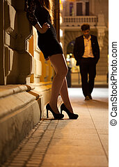 Woman waiting for man