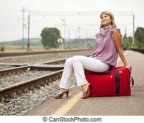 woman  waiting on train