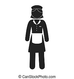 woman waitress apron uniform vector graphic icon - woman...