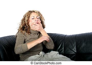 Woman waking up - Digital photo of a woman waking up.
