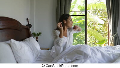 Woman Waking Up Embrace Man Holding Coffee Cup Sit In Bed,...