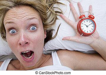 Woman waking up Late