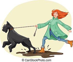 Woman walk, run with dog. Vector illustration