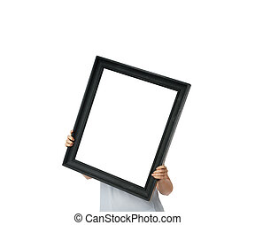 Woman walking and holding black empty frame