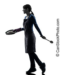 woman walking cooking cake pastry silhouette