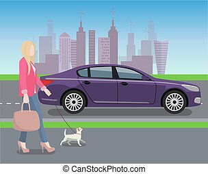 Woman Walking Dog in City Vector Illustration
