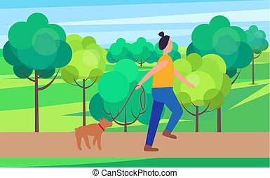 Woman Walking Dog in Park Vector Illustration