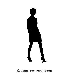 Woman walking forward, isolated vector silhouette. Slim body, high heels, short hair, long legs. Young adult lady
