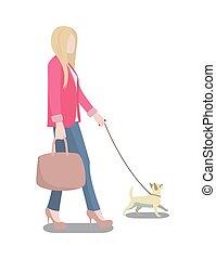Woman Walking Her Dog Poster Vector Illustration