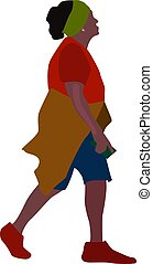 Woman walking, illustration, vector on white background.