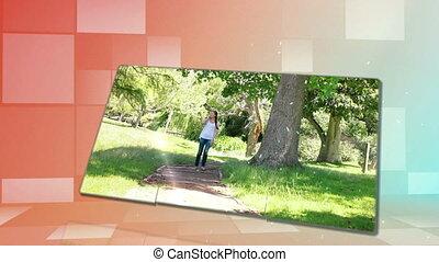 Woman walking in a park and enjoyin