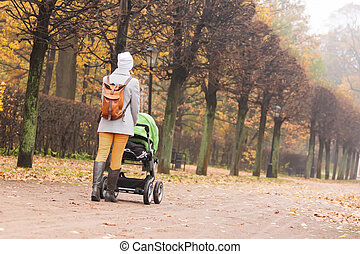 Woman walking in autumn park with stroller