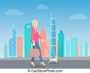 Woman Walking in City with Dog on Leash Skyscraper