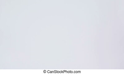 Woman walking in her underwear against a white background