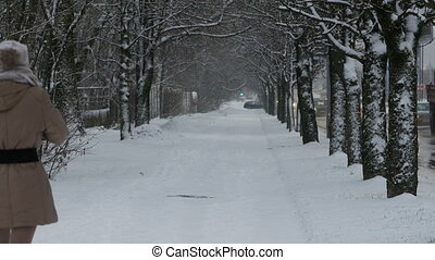 woman walking in park at winter
