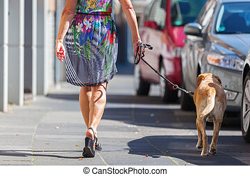 woman walking in the city with a dog