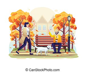 Woman walking in the park in autumn with her dog and greeting a friend man sitting on a bench. vector illustration