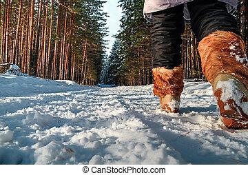 Woman walking in the winter