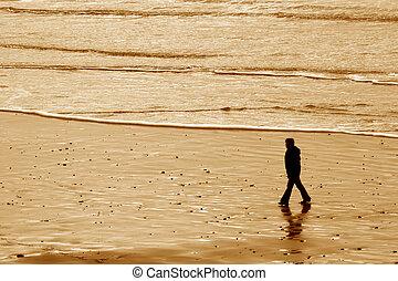 Woman Walking, Indian Beach, Winter - Photo of woman walking...