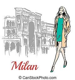 woman walking near Milan - Stylish young woman walking near...