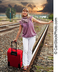 Woman  walking on rail