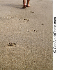 woman walking on sand beach leaving footprints in the sand
