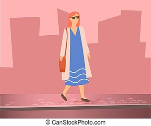 Woman Walking on Street, Silhouettes of Buildings