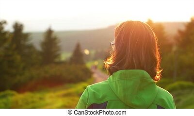 Woman Walking on the Path in the National Park - Young adult...