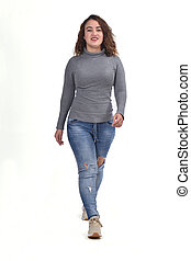 woman walking on white background