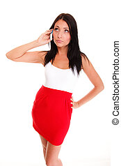 woman walking talking on mobile phone isolated