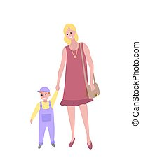 Woman Walking with Baby Son, Toddler Kid and Mom