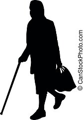 woman walking with baton, silhouette vector