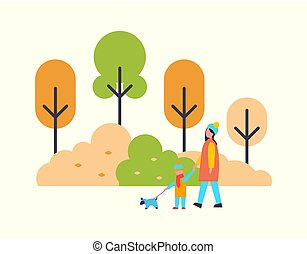 Woman Walking with Child and Cute Pet Dog Outdoors