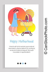 Mother and kid, woman walking with perambulator and child sleeping in pram flat style. Childhood and motherhood childcare family person. App slider for website, landing page application flat style