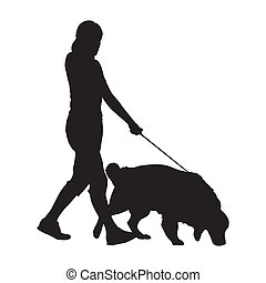 Woman walking with dog, isolated vector silhouette
