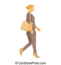 Woman walking with handbag, side view flat design geometric vector illustration