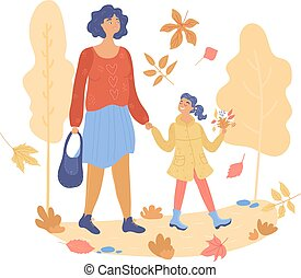 Woman walking with her child autumn park or forest color trees and leaves isolated on white vector, illustration. in outdoors.