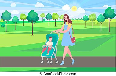 Mother and kid in park, woman walking with pram and baby. Toddler and mom having good time outdoors, fresh air and greenery of nature, trees. Website or webpage template, landing page flat style