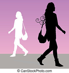 Woman Walking with Purse